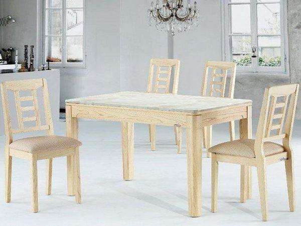 【新北大】S768-1 AW-1910淺色白臘木餐桌4.3尺(含人造石面)(不含餐椅)-2019購