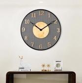 中國風掛鐘大氣時尚金色數字玄關新中式掛鐘20英寸