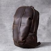 真皮後背包-休閒大容量瘋馬牛皮男女雙肩包2色73vz14【時尚巴黎】