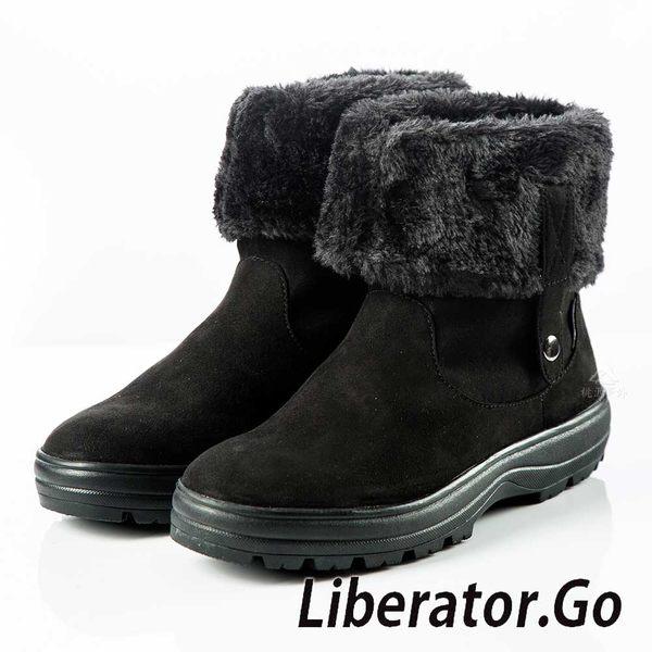 【Liberator】女高筒防潑水可翻拉鍊鈕扣雪鞋『黑』L5021 (冰爪 / 內厚鋪毛 /防滑鞋底) 雪地靴.雪鞋