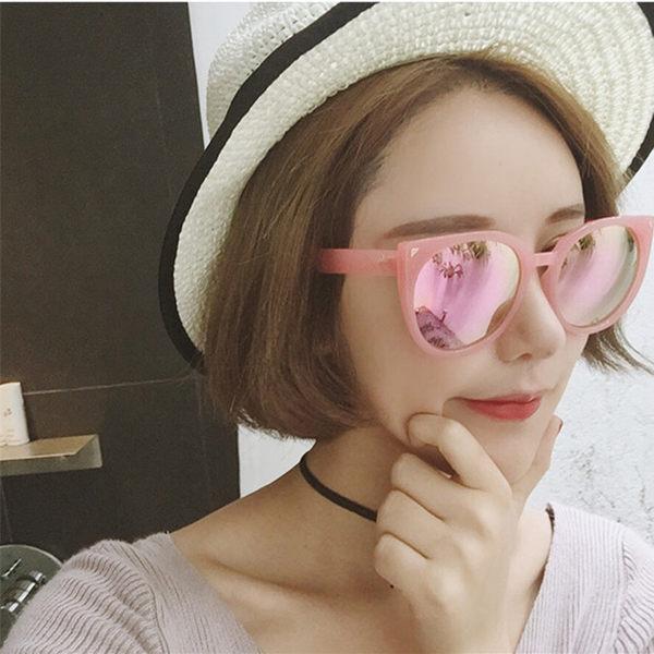 韓版太陽鏡女黑色墨鏡女士潮人2017圓臉復古個性太陽眼鏡女款貓眼