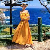 馬爾代夫沙灘裙超仙女夏2019海邊度假一字肩長裙普吉島泰國連身裙