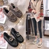 豆豆鞋 棉瓢鞋女鞋羊羔毛豆豆鞋百搭正韓平底單鞋加絨刷毛刷毛毛毛鞋 鉅惠85折