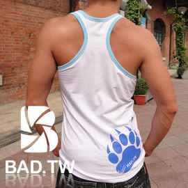 奢華壞男《 熊掌限量款 - 超舒適合身彈性挖背背心 (白底滾藍邊) 》【S / M / L / XL 】(潮T、上衣)