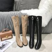 長靴方頭前拉鏈個性顯瘦長筒靴女潮秋季新款百搭粗跟瘦瘦時裝長靴