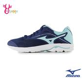 Mizuno童鞋女慢跑鞋 WAVE RIDER 美津濃運動鞋 鞋帶跑步鞋 輕量 透氣跑步鞋 女運動鞋 I9248#藍色