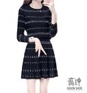 EASON SHOP(GU9917)韓版休閒套裝圓波點印花短版圓領長袖羅紋針織T恤女上衣服鬆緊腰收腰傘狀A字短裙