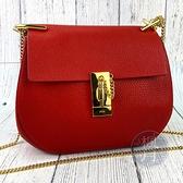 BRAND楓月 CHLOE 紅色 DREW BAG 皮革 皮質 經典包款 金鍊 小豬包 肩背包 大款