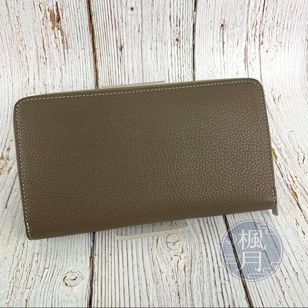 BRAND楓月 CELINE 褐灰內黃 拉鍊長夾 皮夾 錢包