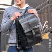 袋鼠潮流時尚休閒青年後背板男士背包日韓版大容量黑色PU皮書包男 街頭潮人