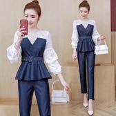 VK精品服飾 韓國風牛仔名媛蕾絲OL套裝長袖褲裝