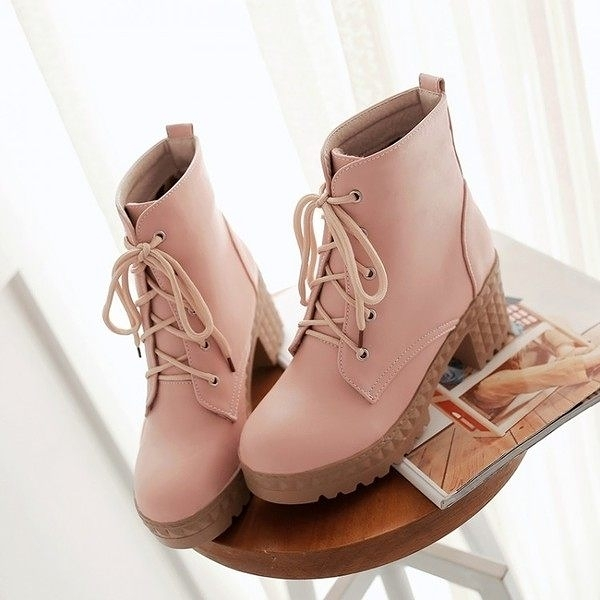 鉚釘紋跟靴-秋冬新款  英式百搭  學院風  系帶鉚釘紋短靴  【AN SHOP】