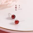 925純銀耳釘女紅色石榴石耳環年新款潮小巧氣質簡約百搭耳飾