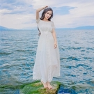 洋裝-露肩一字領鏤空蕾絲長款女連身裙73pu123【巴黎精品】
