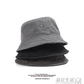 水洗純色漁夫帽男日系百搭女嘻哈街頭帽子復古盆帽子 遇見生活