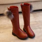 兒童棉靴秋冬季正韓女童毛絨雪地靴黑色騎士靴高筒皮靴子長靴-小精靈生活館