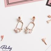 耳環 韓國直送‧吊鐘造型蛋白石珍珠耳環-Ruby s 露比午茶