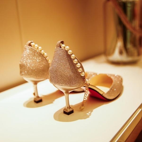銀色亮片一字扣中跟涼鞋女新款中空尖頭貓跟單鞋百搭高跟鞋 黛尼時尚精品