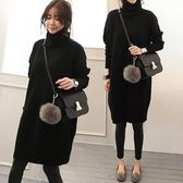 梨卡 - 寬鬆高領秋冬新款簡單保暖加厚中長版毛衣連身裙針織衫B674