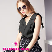 【SHOWCASE】氣質蝴蝶結肩飾無袖V領雪紡襯衫(黑)