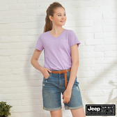 【JEEP】女裝 V領透氣短袖TEE-粉紫