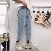 新品-港風春季新款水洗闊腿牛仔褲男士韓版簡約純色寬鬆直筒九分褲子潮 潮人女鞋