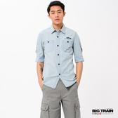 BIG TRAIN  淺色水洗牛仔五分袖襯衫-男-B70107