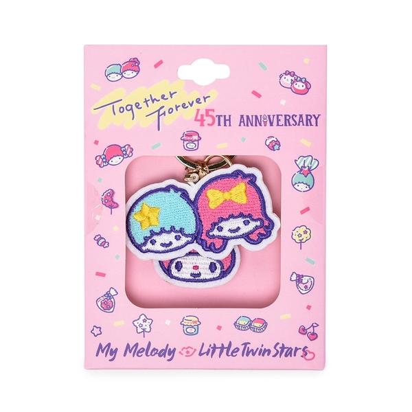 Sanrio 美樂蒂&KIKI LALA 45週年系列 刺繡鑰匙圈 白_RD00733