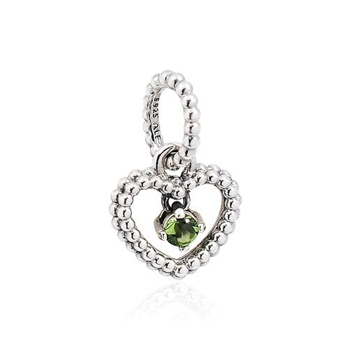 Pandora 潘朵拉 翠綠圓珠水晶心形 垂墜純銀墜飾 798854C10