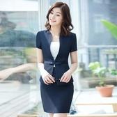 OL套裝(短袖裙裝)-純色V領夏季修身女制服2色73mp86【巴黎精品】