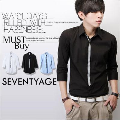 柒零年代【N7576J】韓版都會時尚型男個性視覺領帶打印七分袖襯衫(LE-H5460)