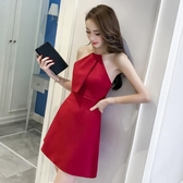 酒紅色洋裝 女裝夏季爆款性感金屬圓環掛脖修身無袖連身裙A字裙 Ballet朵朵