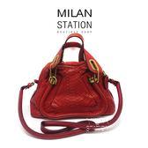 【台中米蘭站】CHLOE PARATY 紅色水蛇皮小款斜背包