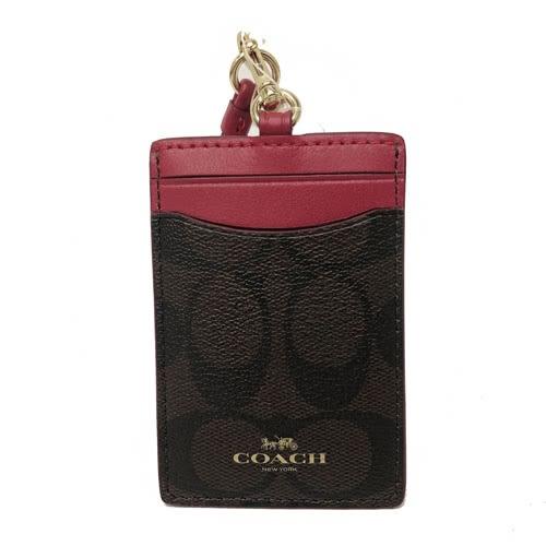 【COACH】經典燙印LOGO PVC 防刮皮革證件識別證保護套(紅)