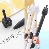 SISI【G21015】黑白立體貓咪點點0.38mm純黑墨水中性筆原子筆黑筆文具辦公學生筆記卡通造型筆