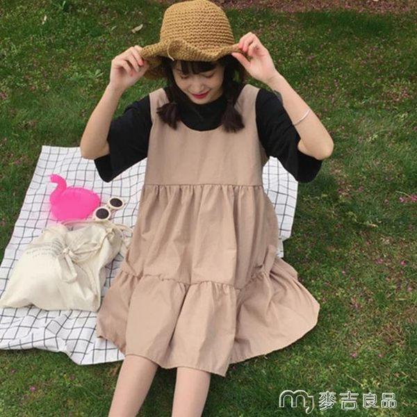 春夏新款韓版復古小清新寬鬆高腰無袖背心A字娃娃裙連身裙女學生     麥吉良品