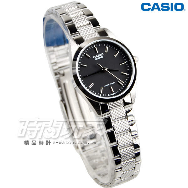 CASIO卡西歐 LTP-1274D-1A 數字時標自信魅力時尚典雅淑女錶 黑x銀 LTP-1274D-1ADF