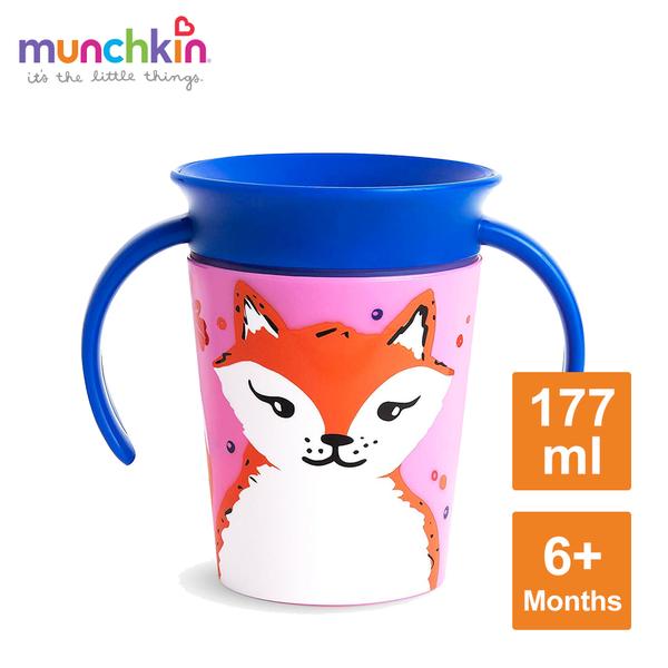 munchkin滿趣健-360度繽紛防漏練習杯177ml-狐狸