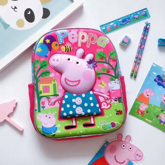 粉紅豬小妹佩佩豬書包幼兒園小班中班大班硬殼3D立體個性書包