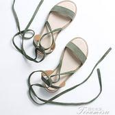 綁帶涼鞋女夏新款百搭平底羅馬繫帶復古學生港風chic露趾仙女 提拉米蘇