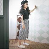 618好康鉅惠女童闊腿褲韓版寬鬆黑白條紋大腳七分闊腳褲