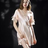 睡裙 新款睡衣女夏睡裙絲綢短袖冰絲連衣裙蕾絲家居服大碼睡衣女200斤 晶彩