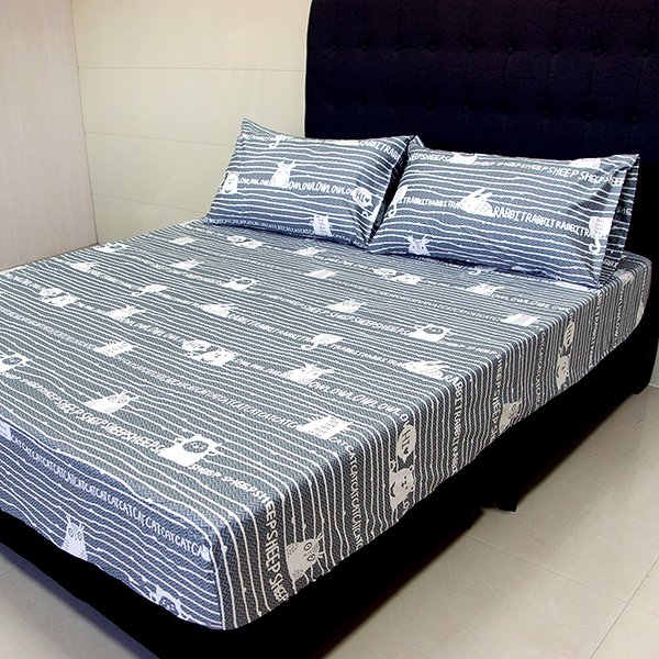 【FITNESS】精梳純棉單人床包+枕套二件組- 萌玩樂園(灰)