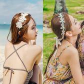 蕾絲發帶韓國新娘頭飾白色甜美超仙帶飄帶發箍花朵小清新森女頭飾【居享優品】
