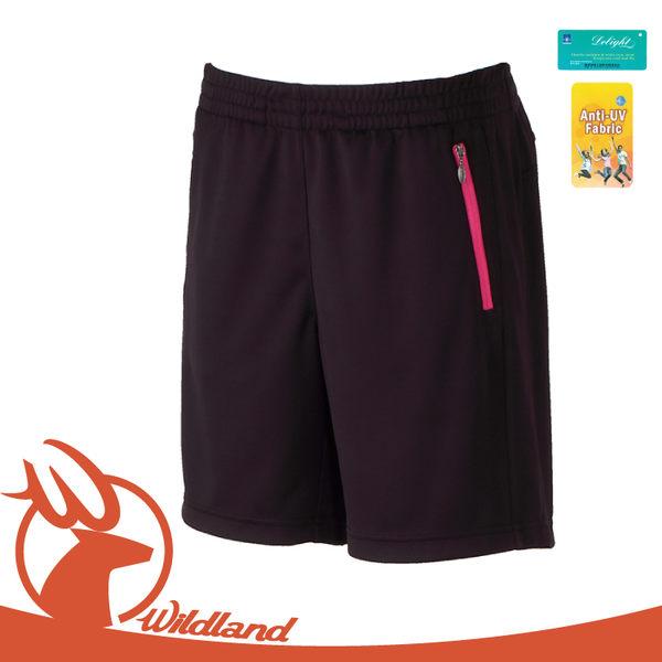 【Wildland 女 透氣抗UV排汗短褲《黑》】W1663/透氣機能褲/慢跑褲/運動褲/防曬/吸濕排汗