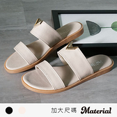 拖鞋 加大金屬小V雙橫帶拖鞋 MA女鞋 TG1024