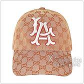 GUCCI經典雙G LOGO Dodgers聯名款緹花布棒球帽(咖啡)
