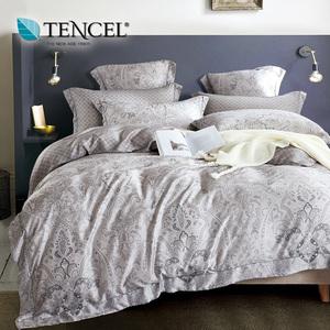 【貝兒居家寢飾生活館】頂級100%天絲床罩鋪棉兩用被七件組(雙人/無聲的詩)