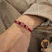 草莓晶手鏈女鴿血紅水晶編織繩情侶轉運脫單【宅貓醬】