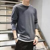 男士T恤新款潮牌純棉衛生衣男裝打底衫韓版潮流帥氣上衣服長袖連帽T恤 雙十二全館免運